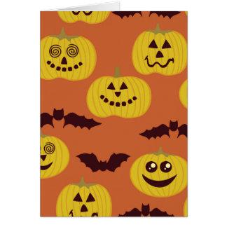Fun Halloween Pumpkin Bat Design Greeting Cards