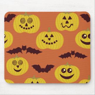 Fun Halloween Pumpkin Bat Design Mouse Pads