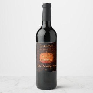 Fun Halloween pumpkin Wine Label