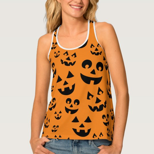 Fun Halloween Spirit Jack-o-lantern Faces Pattern Tank Top