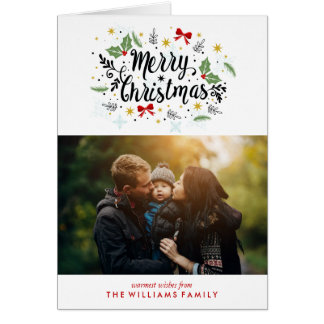 Fun Hand Lettered Merry Christmas Photo Card