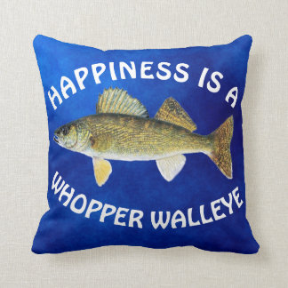 """Fun """"Happiness Is"""" Walleye Pike on Blue Throw Pillow"""