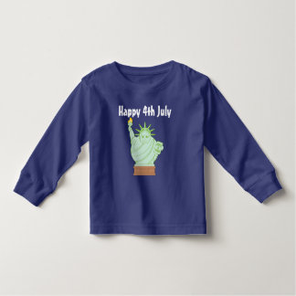 "Fun ""Happy 4th July"" cartoon ""Statue of Liberty"", Toddler T-shirt"