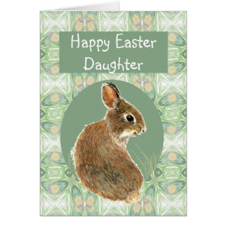 Fun Happy Easter Daughter with Cute Bunny Card