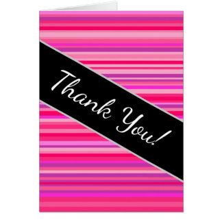 Fun, Happy, Girly Pink and Purple Stripes Pattern Card