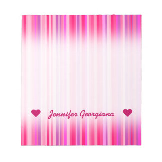 Fun, Happy, Girly Pink and Purple Stripes Pattern Notepad