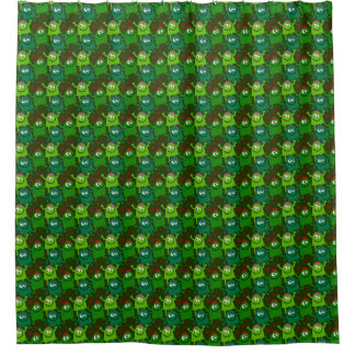 Fun Happy Green Monsters Shower Curtain
