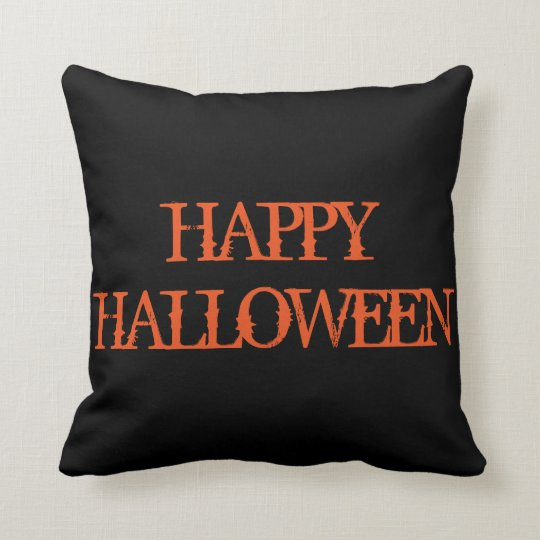 Fun Happy Halloween Trick or Treat Spider with Web Throw Pillow