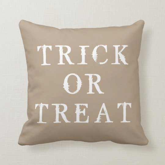 Fun Happy Halloween Trick or Treat Throw Pillow
