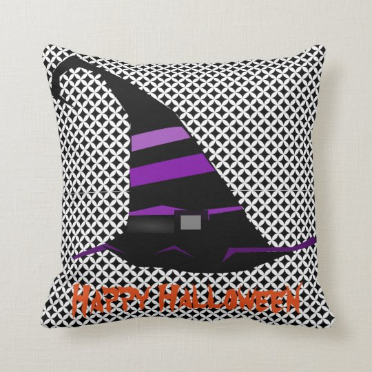 Fun Happy Halloween Witch Hat Throw Pillow