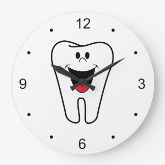 Fun Happy Smiling Tooth for Dentists Large Clock