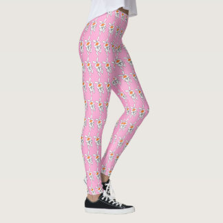 Fun Happy White Bunny Rabbit Thumbs Up Pink Leggings