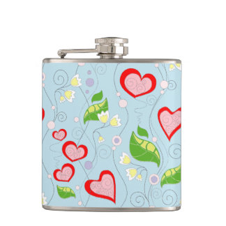 Fun Hearts and Flowers Hip Flask