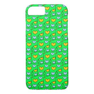 Fun Hearts Design Lime Green iPhone 8/7 Case