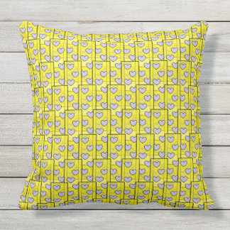 Fun Hearts on Yellow Large Outdoor Pillow