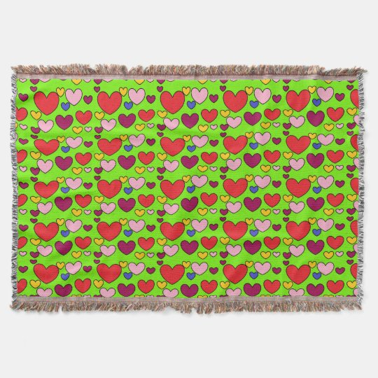 Fun Hearts Pattern Throw Blanket
