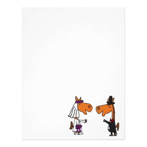 Fun Horse Bride and Groom Wedding Design Letterhead
