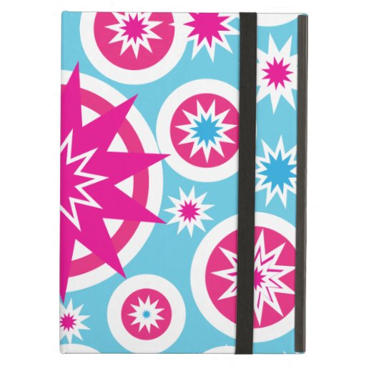 Fun Hot Pink and Blue Snowflake Stars Design iPad Folio Cases