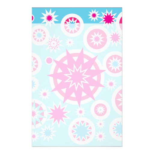 Fun Hot Pink and Blue Snowflake Stars Design Personalized Stationery