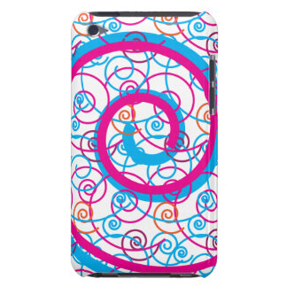 Fun Hot Pink and Teal Blue Spiral Pattern iPod Touch Case