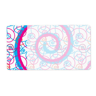 Fun Hot Pink and Teal Blue Spiral Pattern Shipping Label