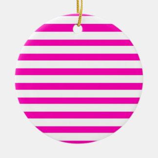 Fun Hot Pink and White Striped Pattern Round Ceramic Ornament