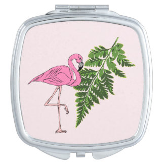 Fun Hot Pink Flamingo and Green Fern Leaf Mirror For Makeup