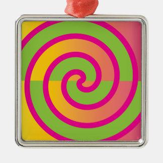 Fun Hot Pink Lollipop Swirl Design Green Yellow Silver-Colored Square Ornament