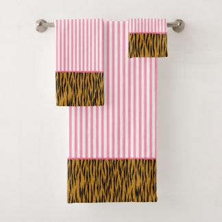 Fun Hot Pink Stripes & Tigerprint Bath Towel Set