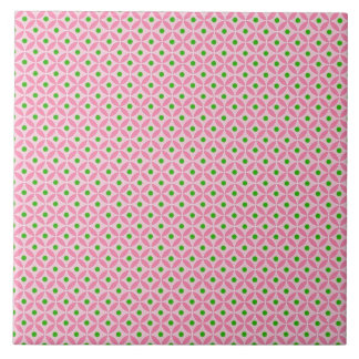 Fun Hot Pink Teal and Soft Pink Diamond Pattern Tile
