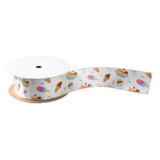 Fun ice cream party pattern ribbon satin ribbon