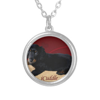 Fun iCuddle Long Hair Dachsund Silver Plated Necklace
