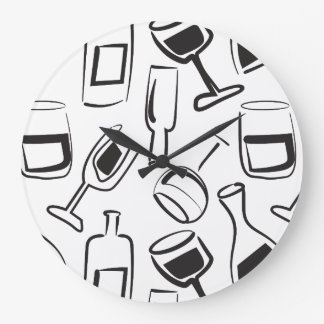 Fun Illustrated Wine Clock - Wine Glasses