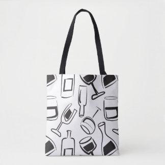 Fun Illustrated Wine Tote Bag