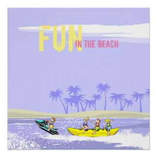 Fun in the Beach Banana boat and Jet ski Poster