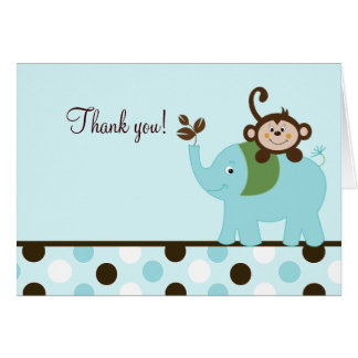 Fun in the Jungle Blue Dot Monkey Elephant Card