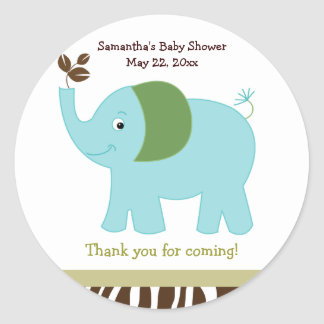 Fun in the Jungle Elephant Round Favor Sticker