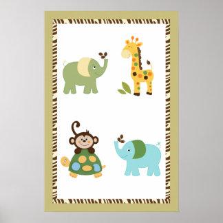 Fun in the Jungle Nursery Art Poster 16x24
