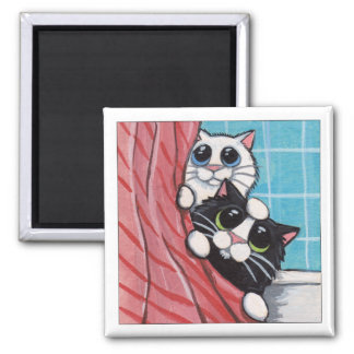 Fun In The Shower - Cat Magnet