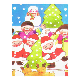 Fun in the snow, kids with santa and snowman customized letterhead