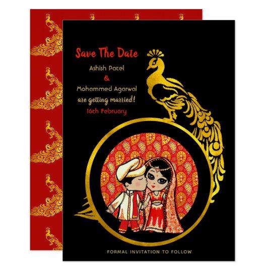 Fun Indian Wedding Save the Date Cute Bride Groom Card