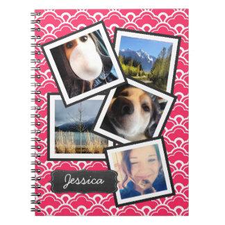 Fun Instagram Photo Collage PINK Spiral Notebooks