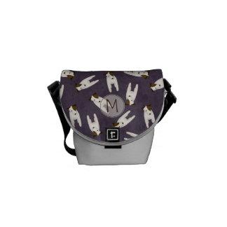Fun Jack Russell Terriers pattern monogram Messenger Bags
