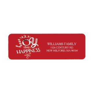 Fun Joy & Happiness Christmas Return Address Label