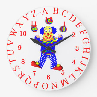 Fun Juggling Circus Clown Alphabet Picture Wall Clocks