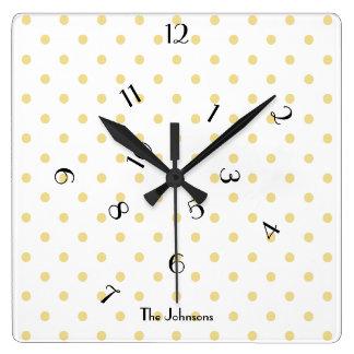 Fun Jumbled Hours Polka Dot Custom Name Room Decor Square Wall Clock