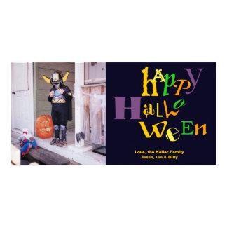 Fun jumbo type colorful Halloween custom greeting Photo Card Template
