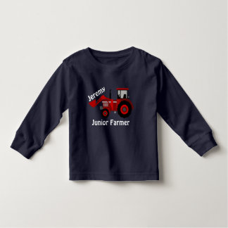 "Fun ""Junior Farmer"" and ""Name"" Red Loader Tractor Toddler T-shirt"
