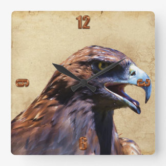 Fun Juvenile Bald Eagle Attitude Wildlife Square Wall Clock
