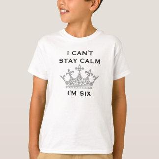 Fun Kid's 6th Birthday I Can't Stay Calm I'm Six T-Shirt